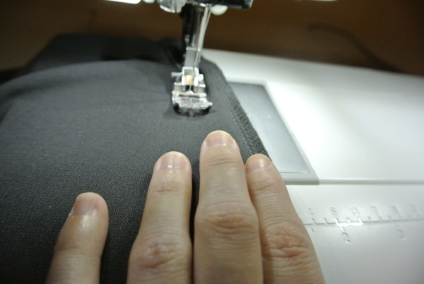 sewing new seam for refashioned dress
