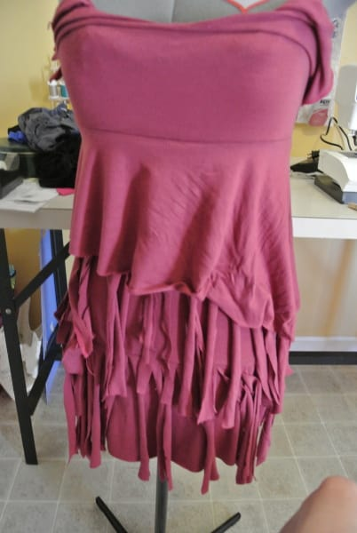 cutting fringe for dress refashion