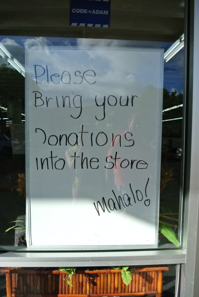 Thrift Store Donation Sign in Hawaii