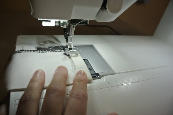 stitching down raw edge of cuff
