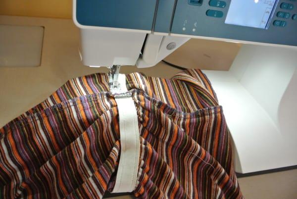 sewing elastic back on dress