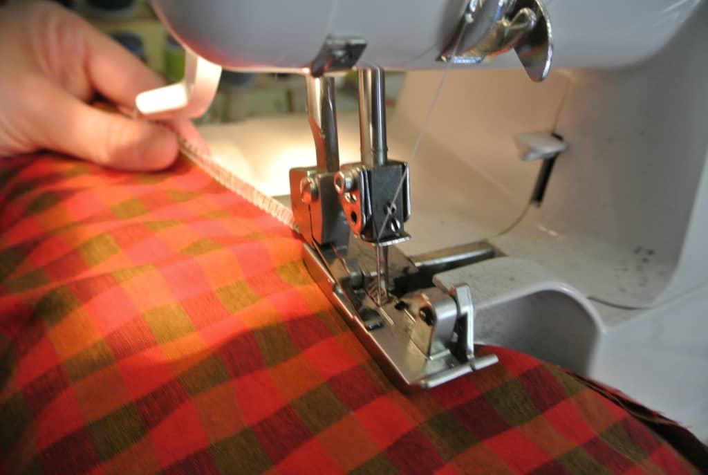 serging side seam of dress