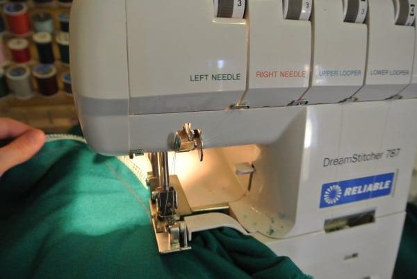 using serger on side seam of dress