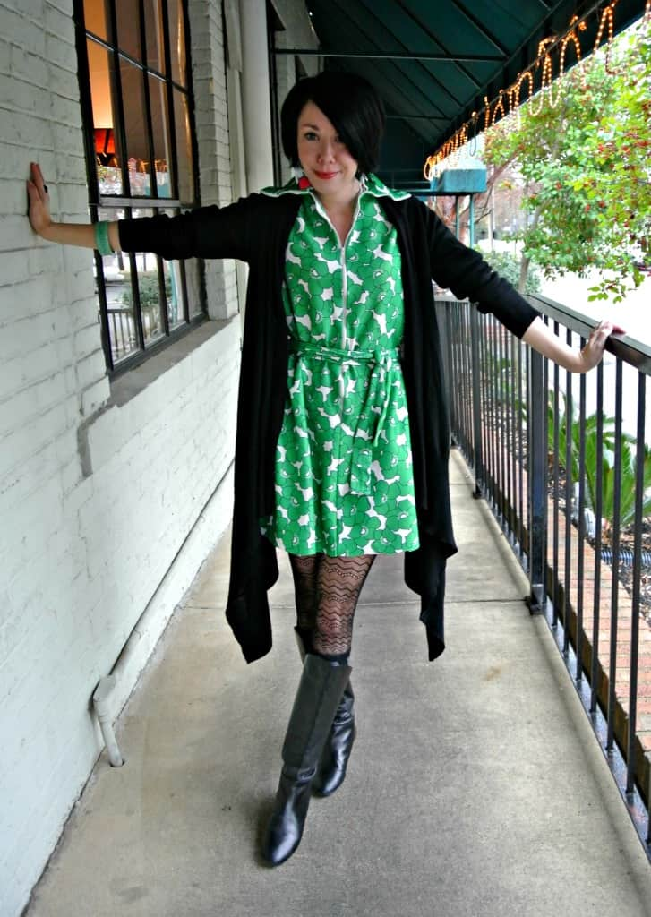 No-Sew '70s Housecoat to Dress Refashion After with Sweater