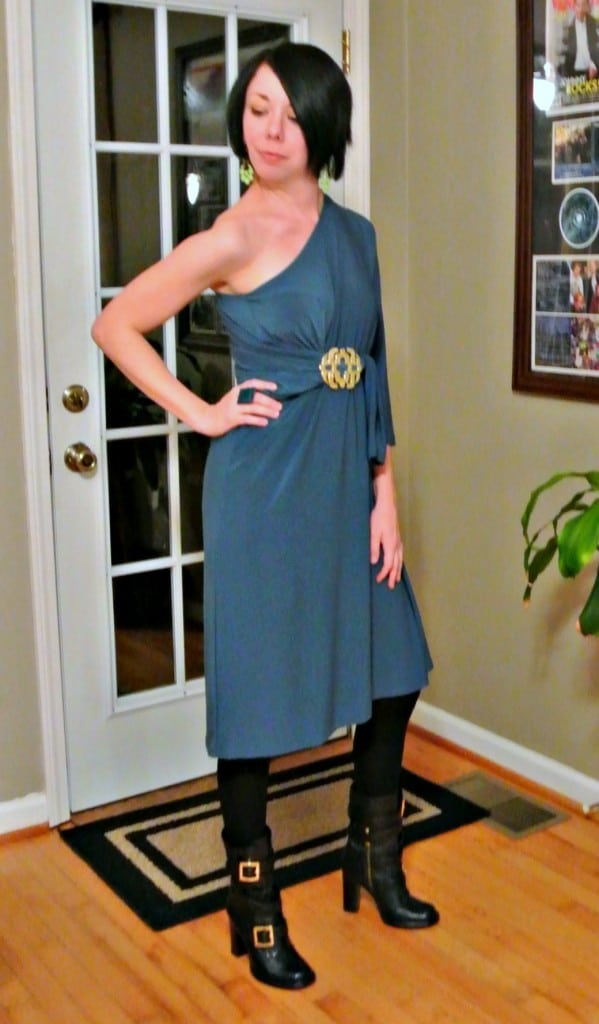 No-Sew One Sleeve Dress Refashion after