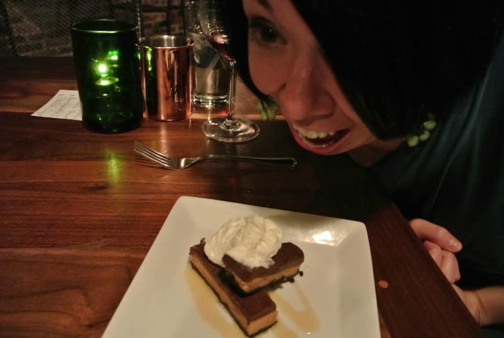 Jillian eating peanut butter dessert