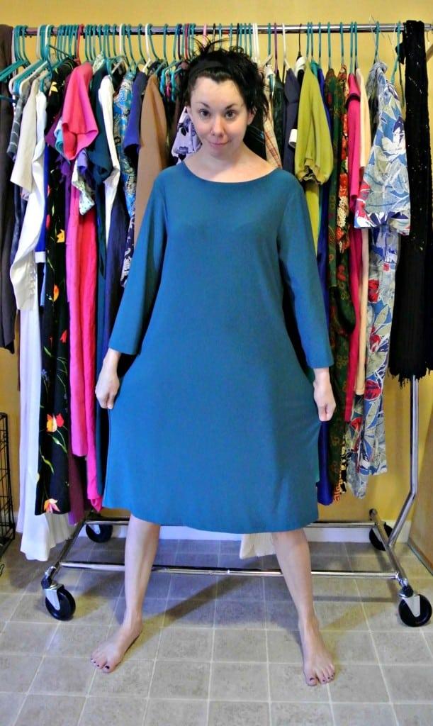 Refashionista No-Sew One Sleeve Dress Refashion Before