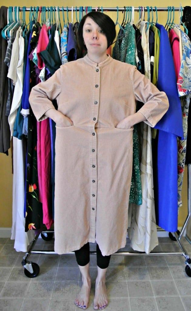 Refashionista corduroy dress to jacket refashion before