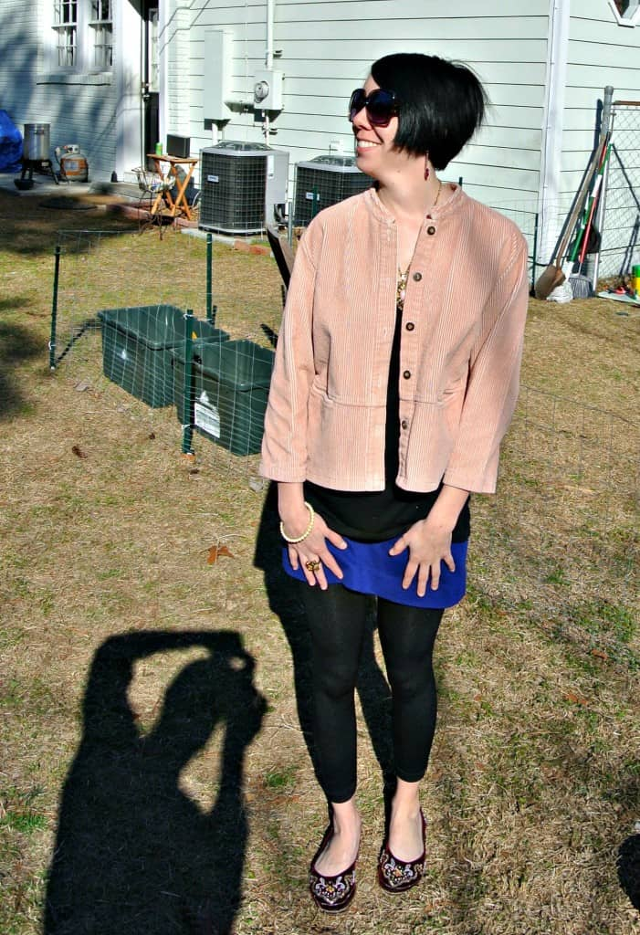 Refashionista corduroy dress to jacket refashion after looking to the side
