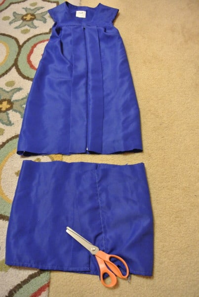 cutting off bottom of graduation gown