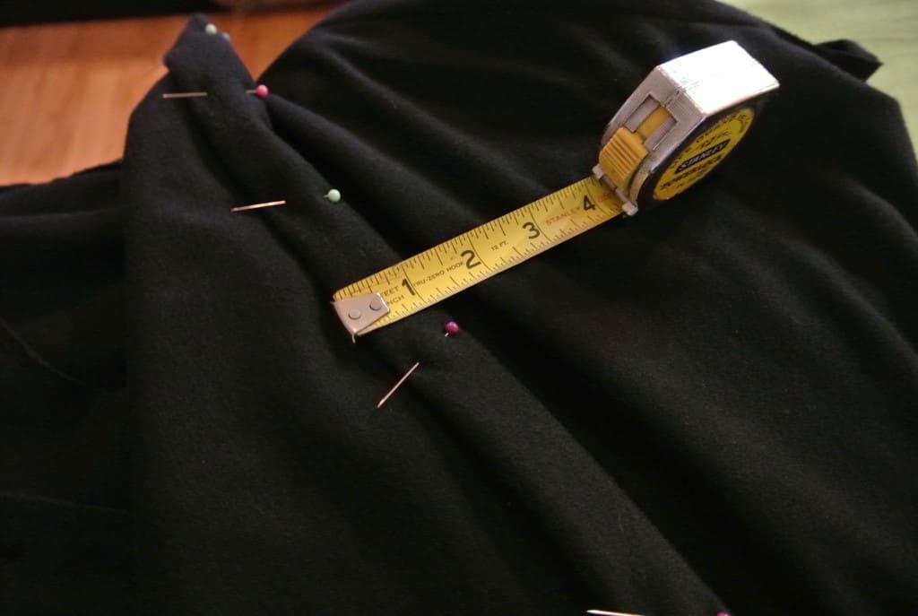 measuring and pinning bottom hem