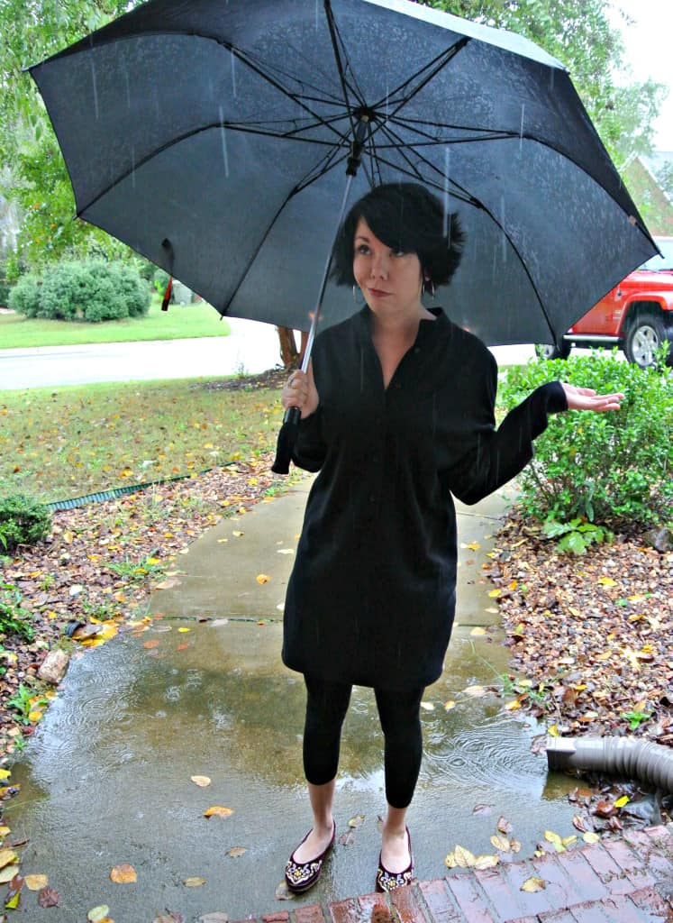 refashionista DIY Tunic Dress after with umbrella