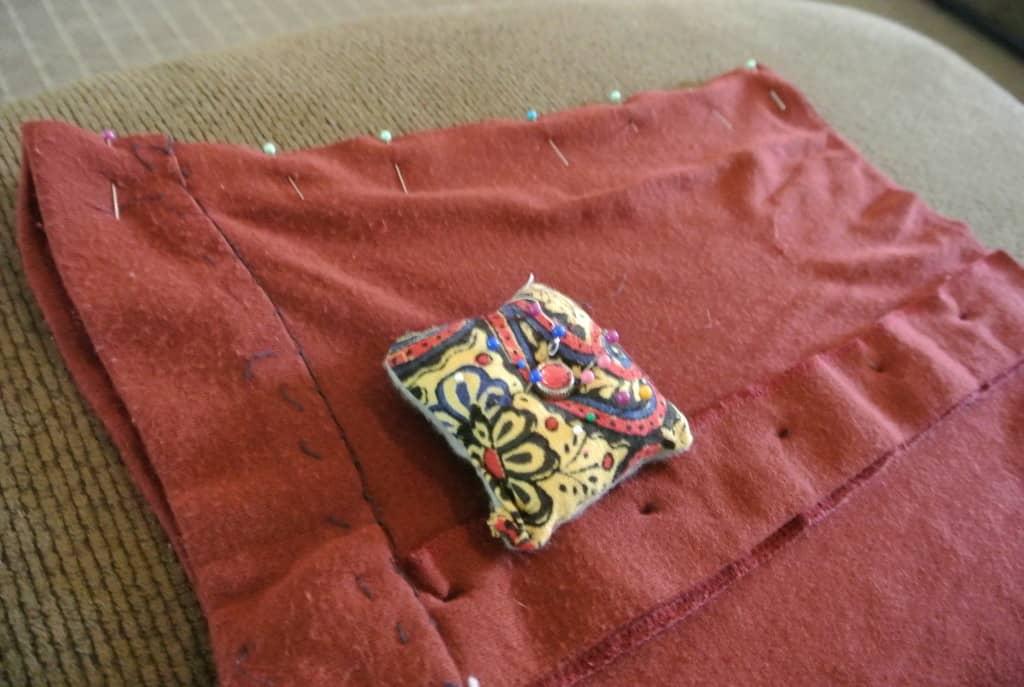 pinning side seam of skirt