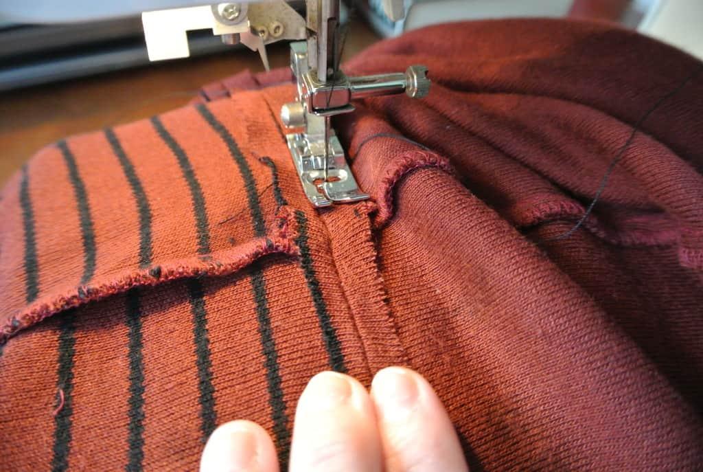 Sewing raw edge down