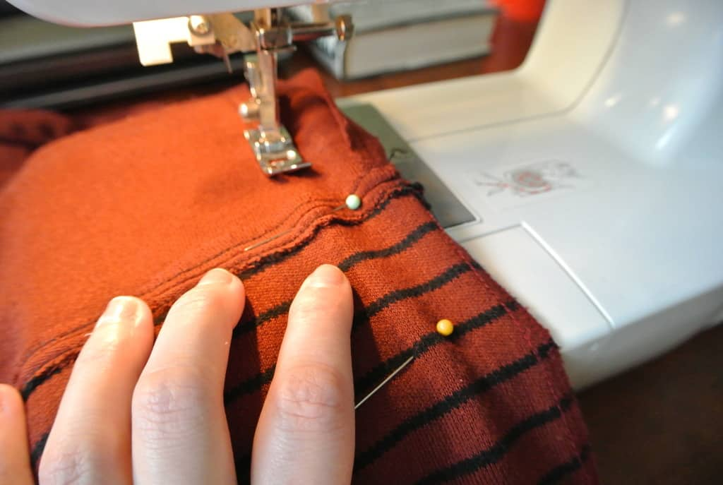 stitching side seam of dress