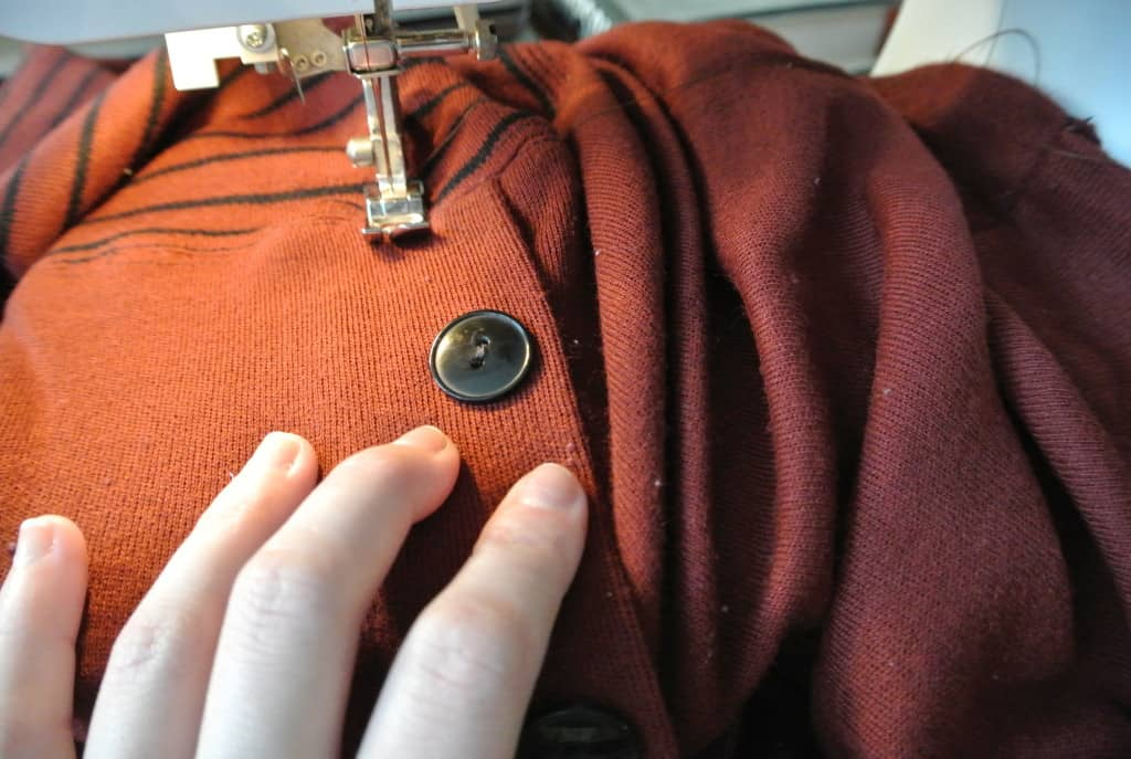 sewing down front placket