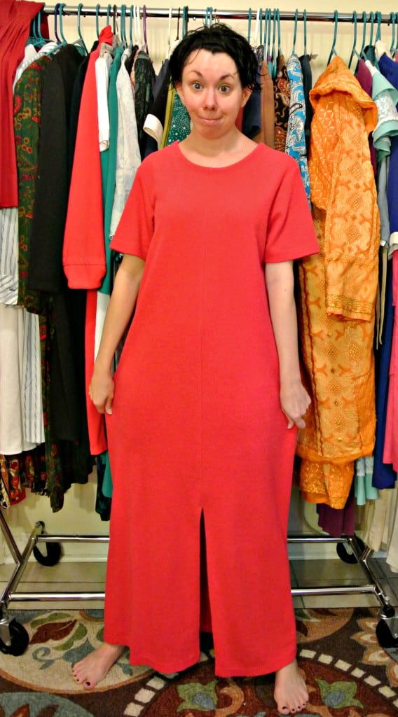 refashionista Short Sleeve to Long Sleeve Dress Refashion before