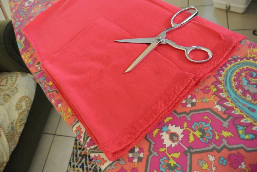 cutting sleeve from bottom fabric scrap