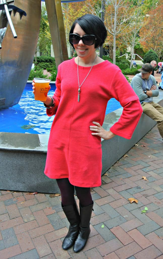 Short Sleeve to Long Sleeve Dress Refashion after
