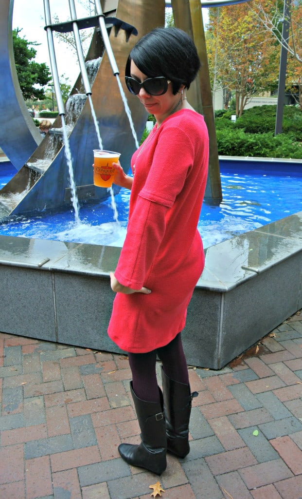 Short Sleeve to Long Sleeve Dress Refashion after side view!