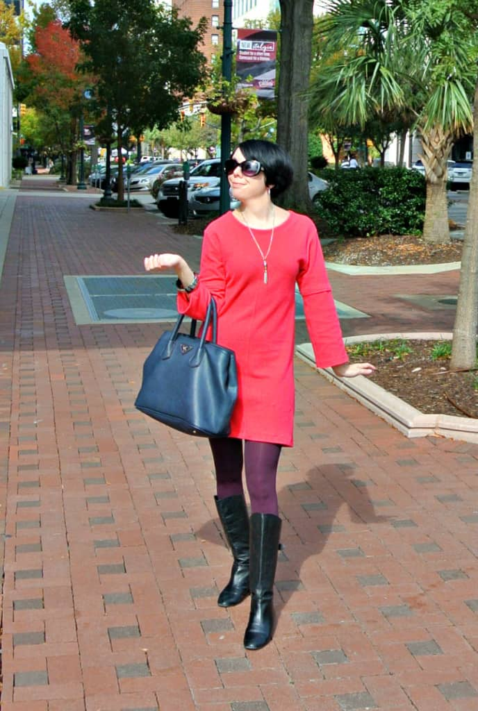 Short Sleeve to Long Sleeve Dress Refashion after with handbag