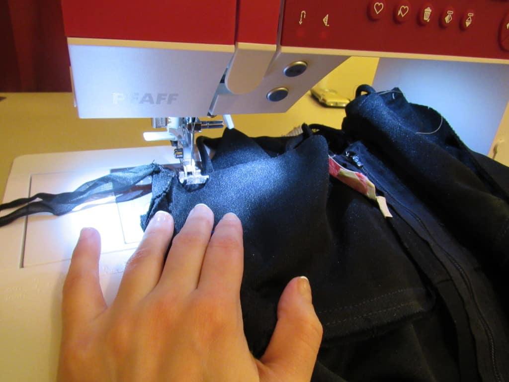 sewing dress on machine