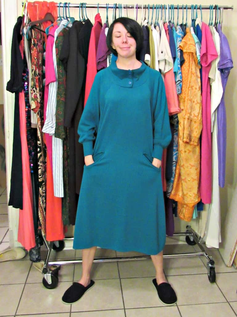 A No-Sew Cozy Tunic Dress Refashion before