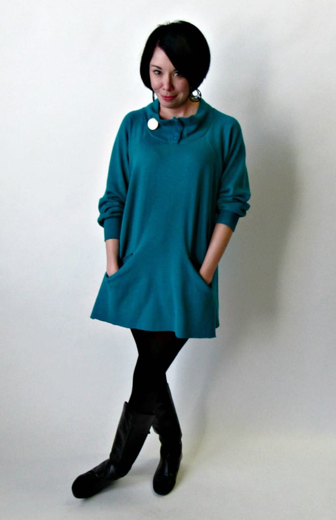 A No-Sew Cozy Tunic Dress Refashion after