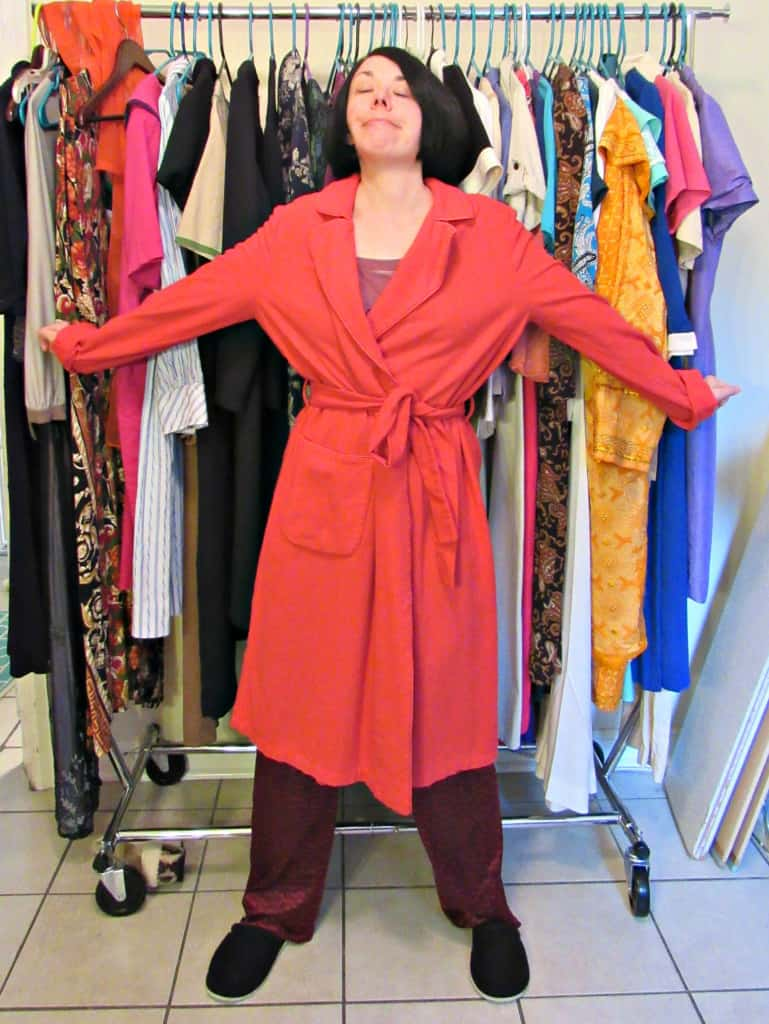 refashionista vintage bathrobe refashion before arms outstretched