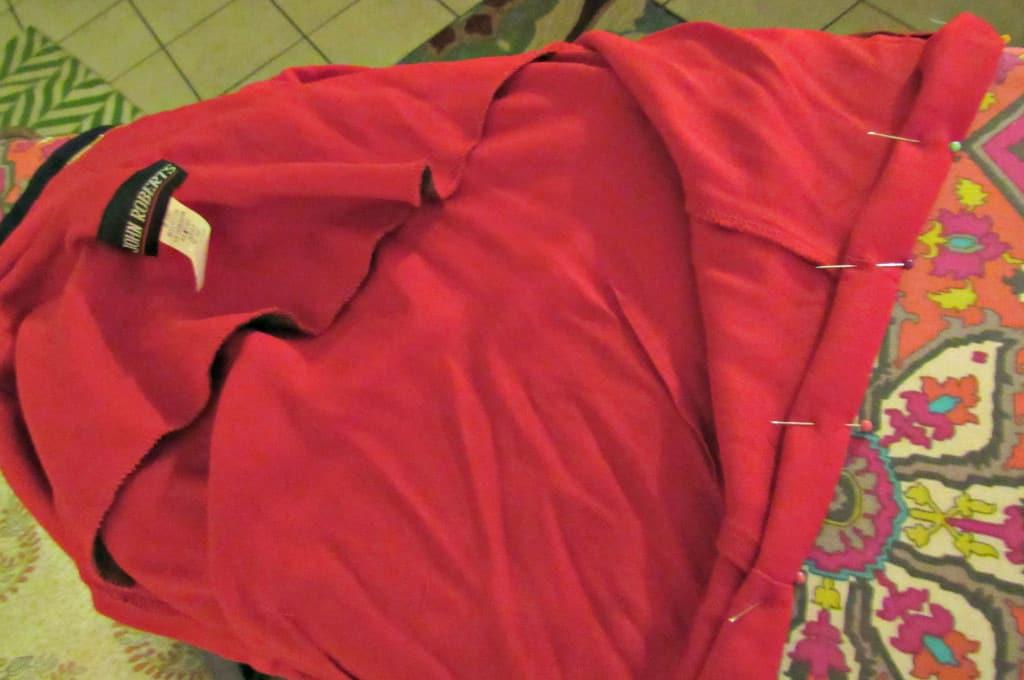 pinning hem of military style jacket