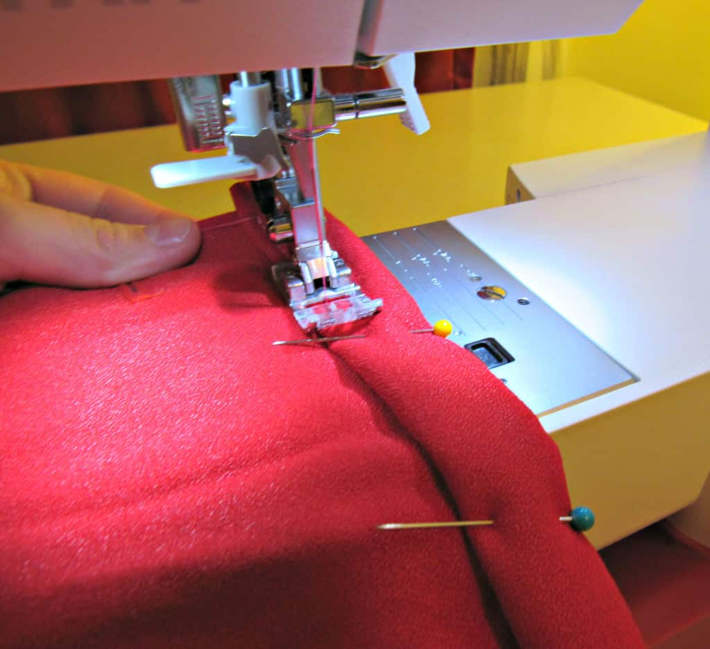 sewing hem of military style jacket