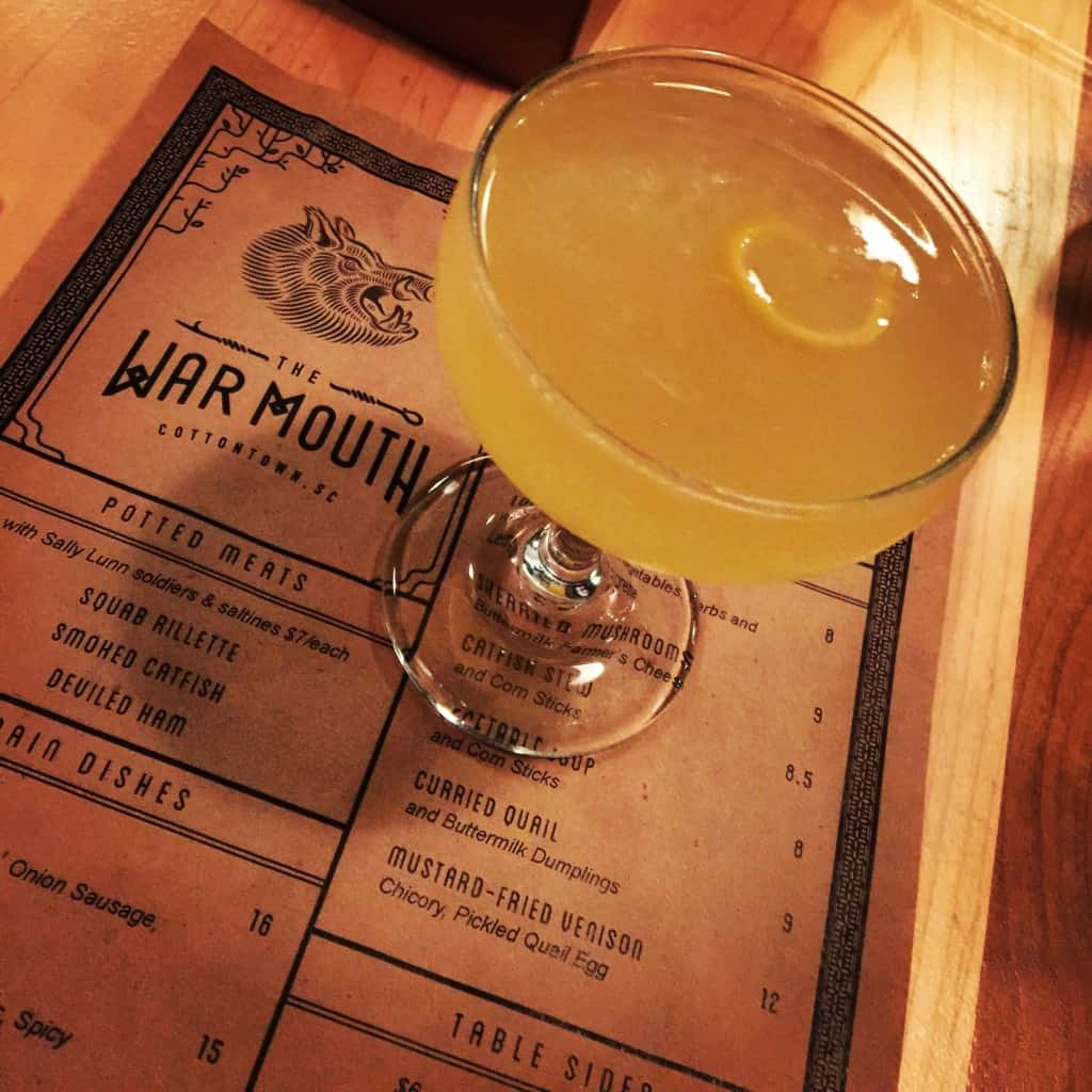 war mouth menu and a cocktail