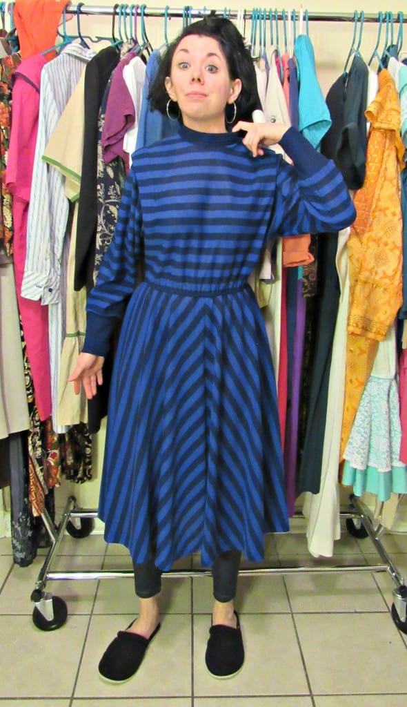 '80s Striped Dress Refashion Before