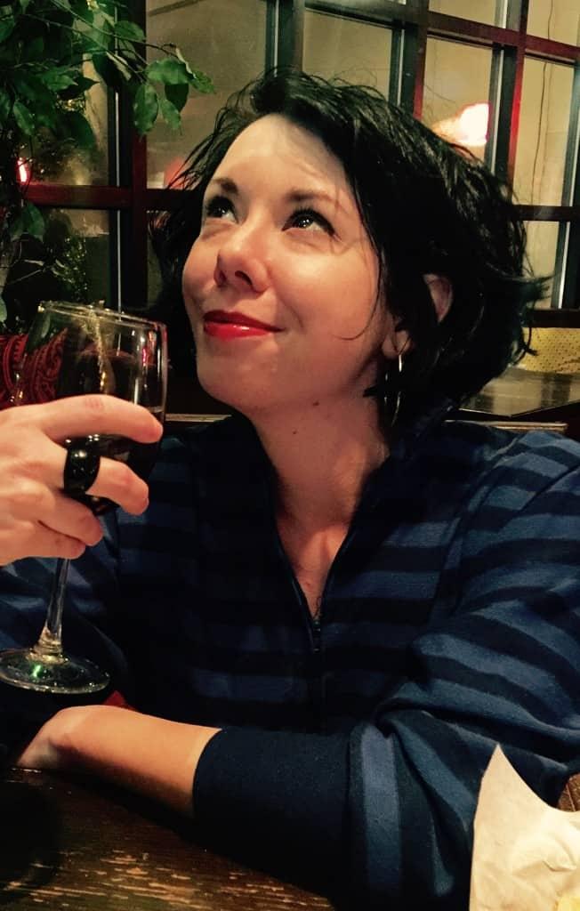 jillian drinking wine
