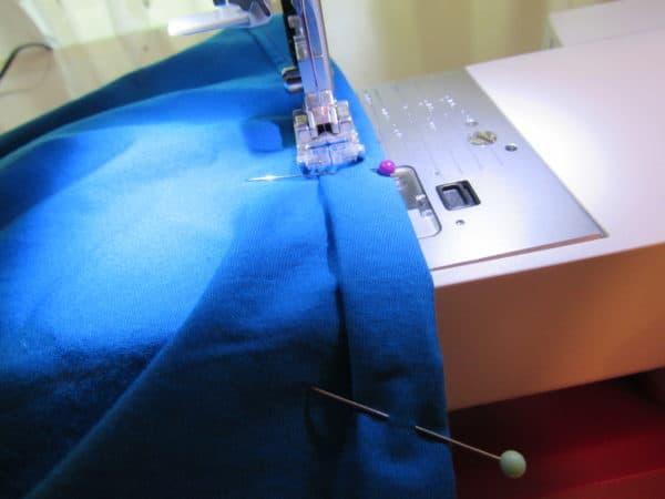 sewing hem of top