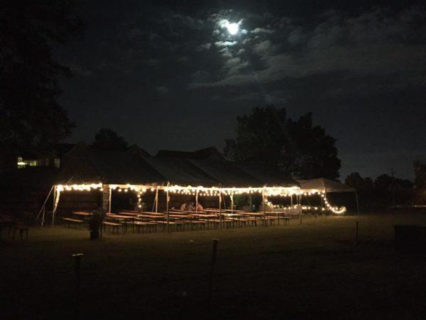 Empty Bierkeller tent at night