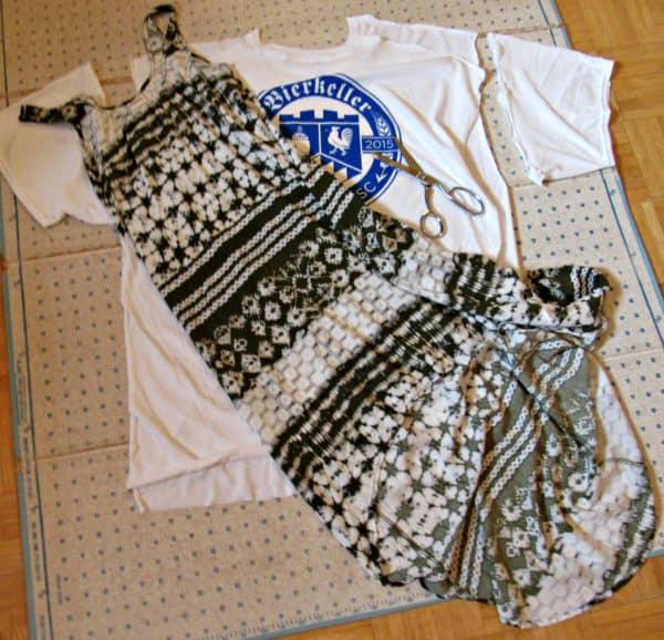 dress laid over shirt