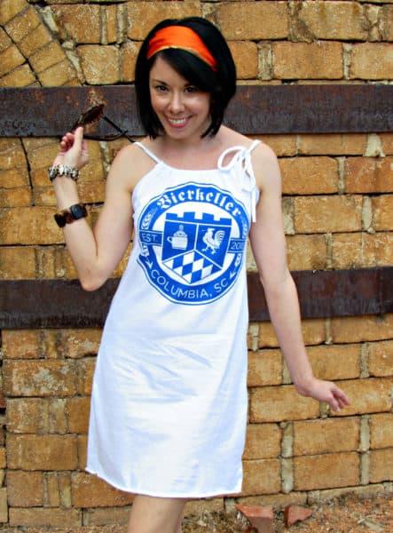 Refashionista T-shirt to Drawstring Halter Dress Refashion After