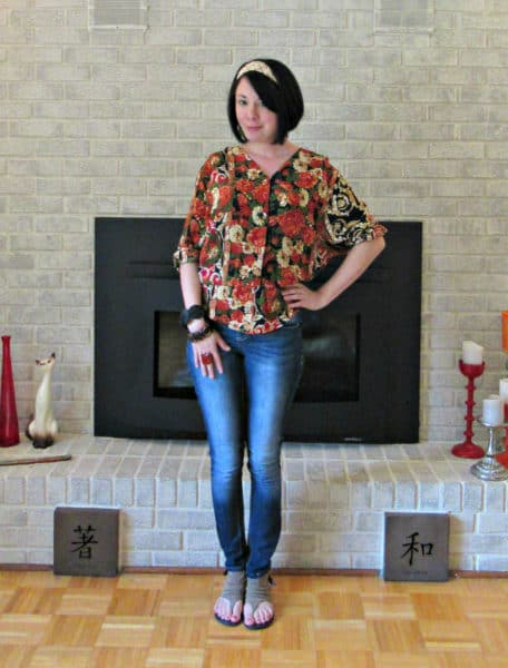 Refashionista Fall Floral Dress to Shirt Refashion after