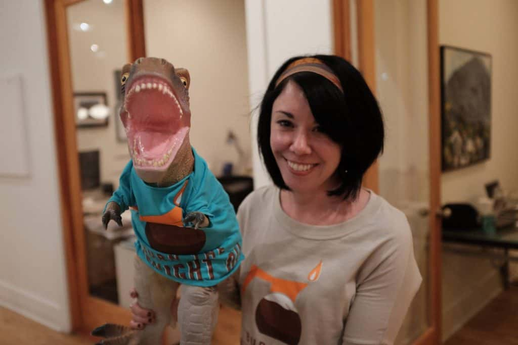 Jillian with dinosaur in customized tshirt