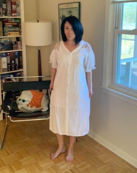 ReFashionista in frumpy white 80's dress