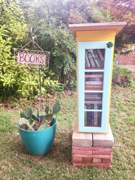 diy little free library from old kitchen cabinet