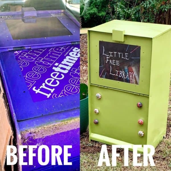 ReFashionista little free library before and after