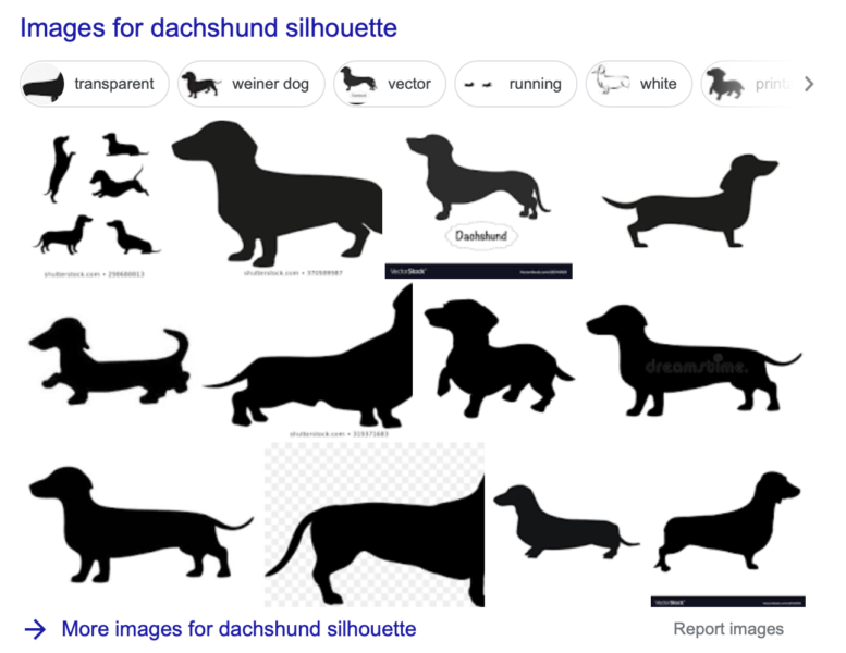 dachshund silhouettes to trace for sweater