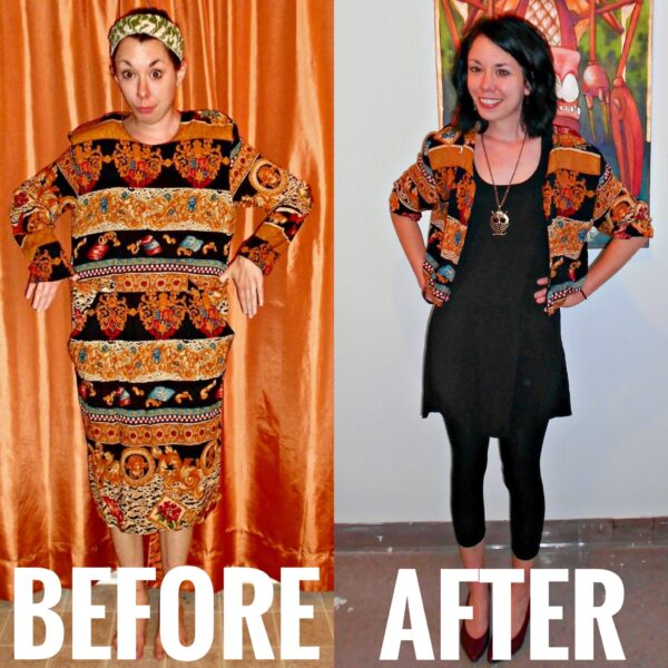 refashionista before and after dress to jacket refashion