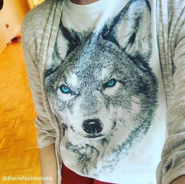 refashionista thrifted wolf tee