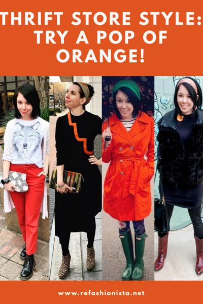 refashionista thrift style a pop of orange Pinterest image