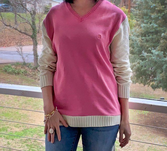 refashionista sweater vest to sweater refashion