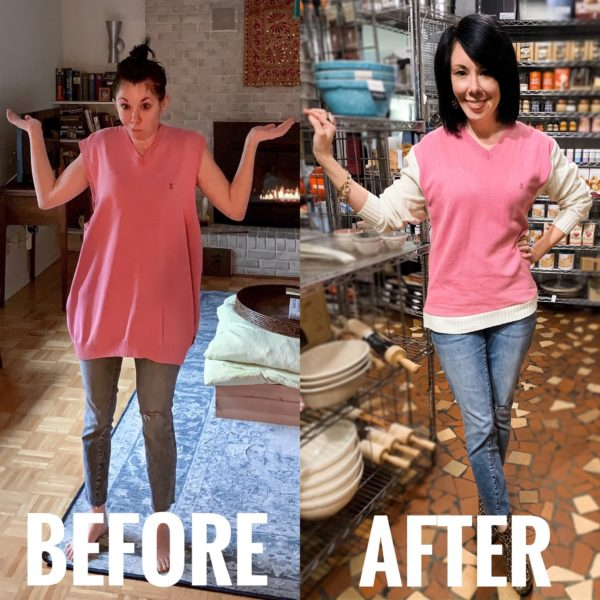refashionista sweater vest refashion before and after
