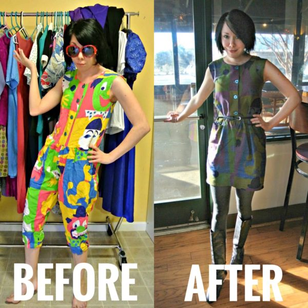 refashionista clown suit refashion before and afrter